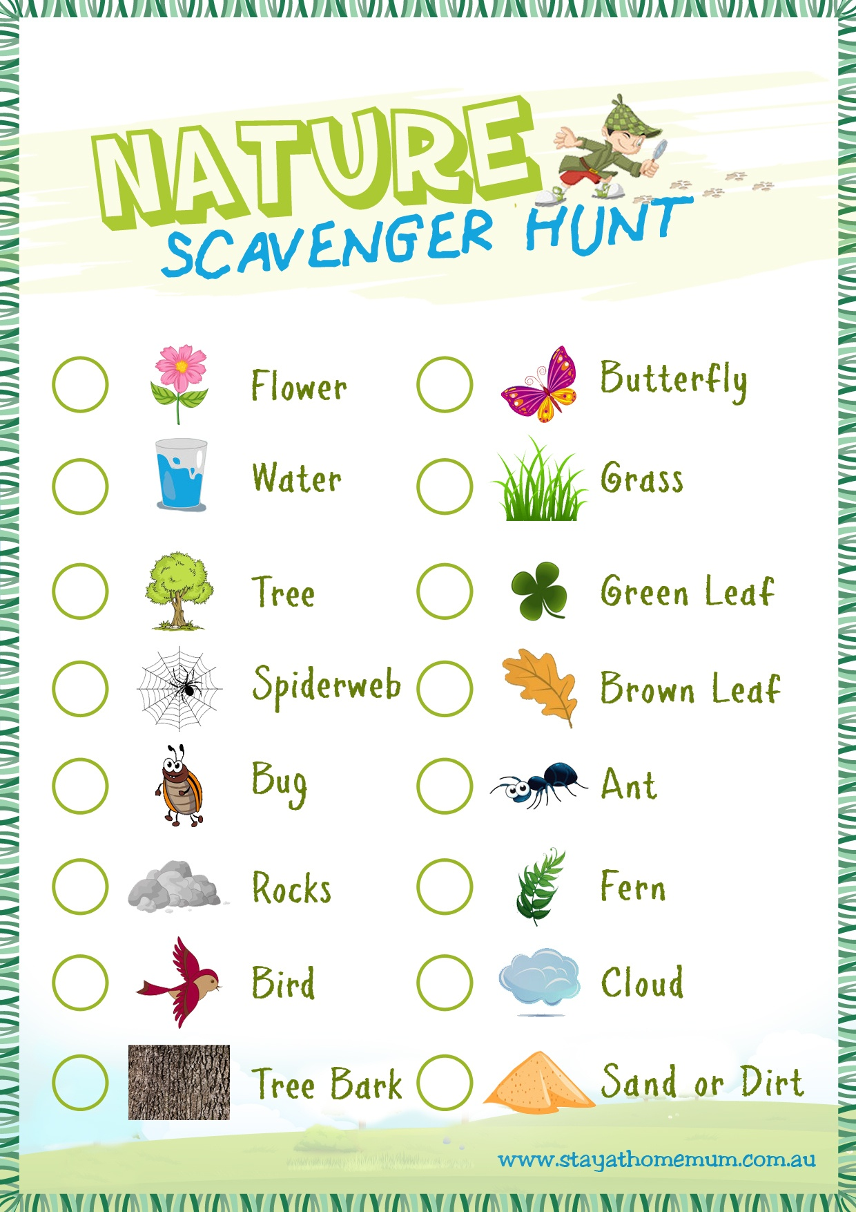 Nature Scavenger Hunt - Free Printable - Stay At Home Mum - Free Printable Scavenger Hunt