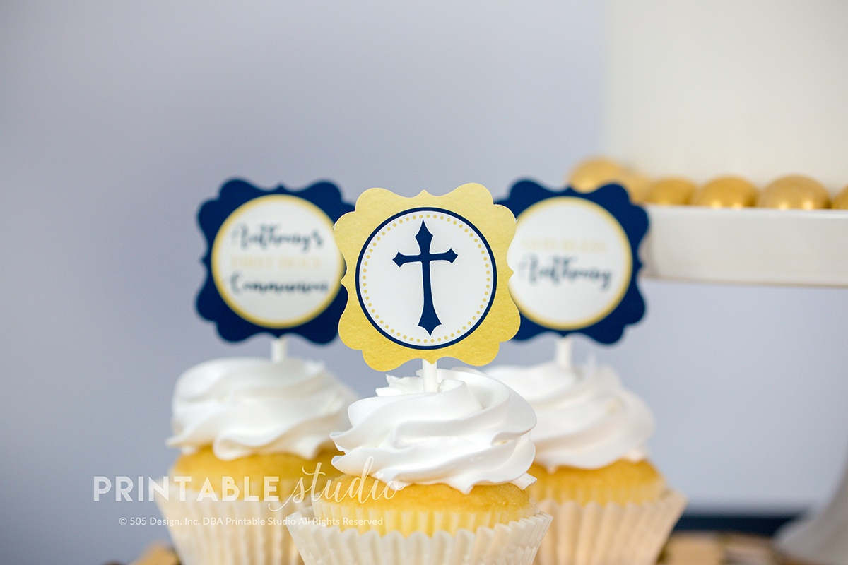 Navy And Gold First Communion Cupcake Toppers - Printable Studio - Free Printable First Communion Cupcake Toppers