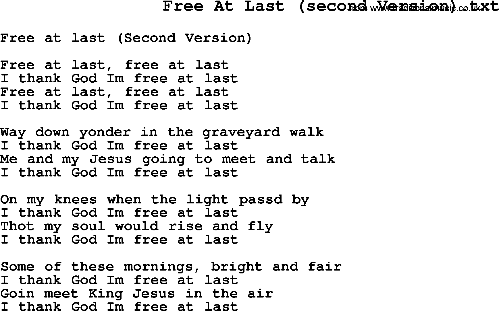 Negro Spiritual/slave Song Lyrics For Free At Last(2) - Free Printable Song Lyrics