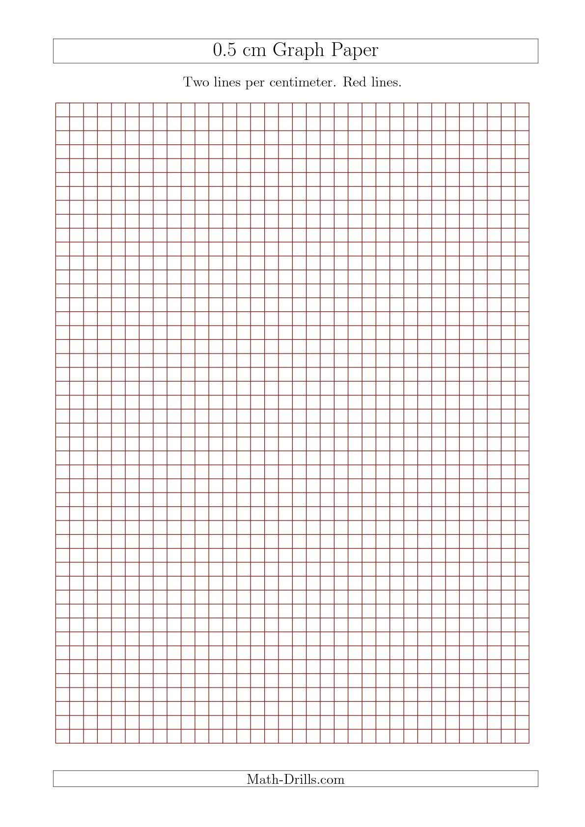 New 2015-09-17! 0.5 Cm Graph Paper With Red Lines (A4 Size) Math - Free Printable Graph Paper With Numbers