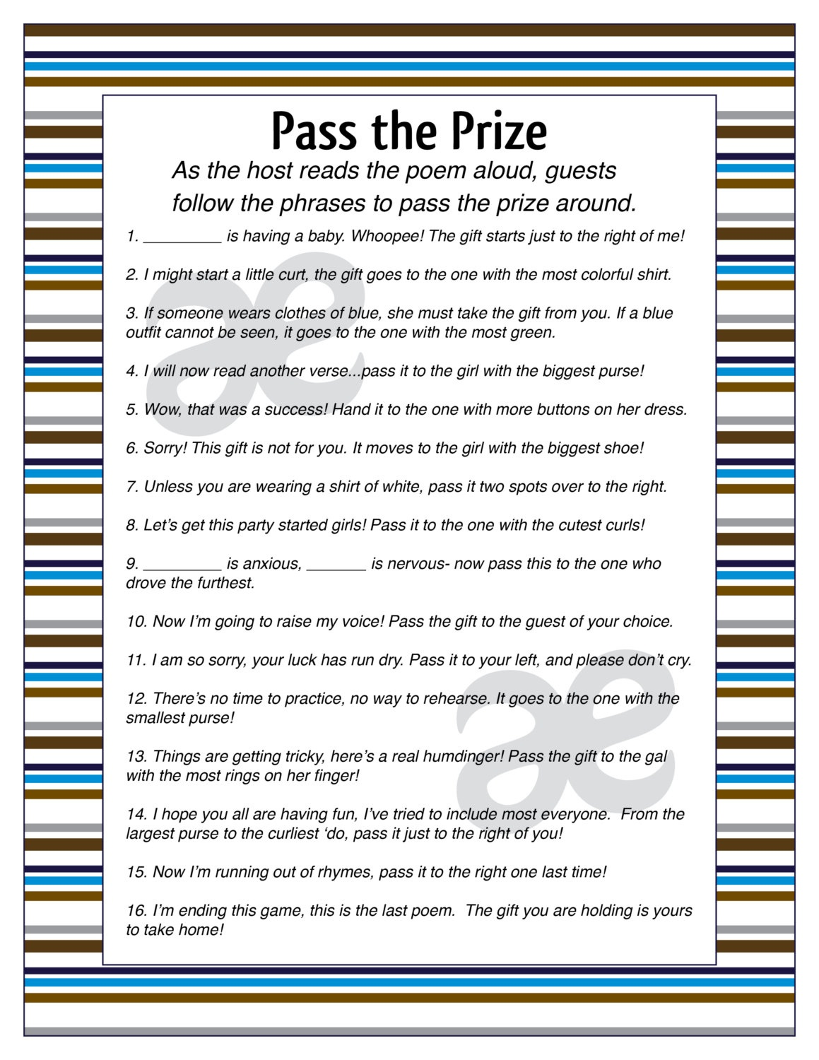 New Baby Shower Games Pass The Gift - Pass The Prize Baby Shower Game Free Printable