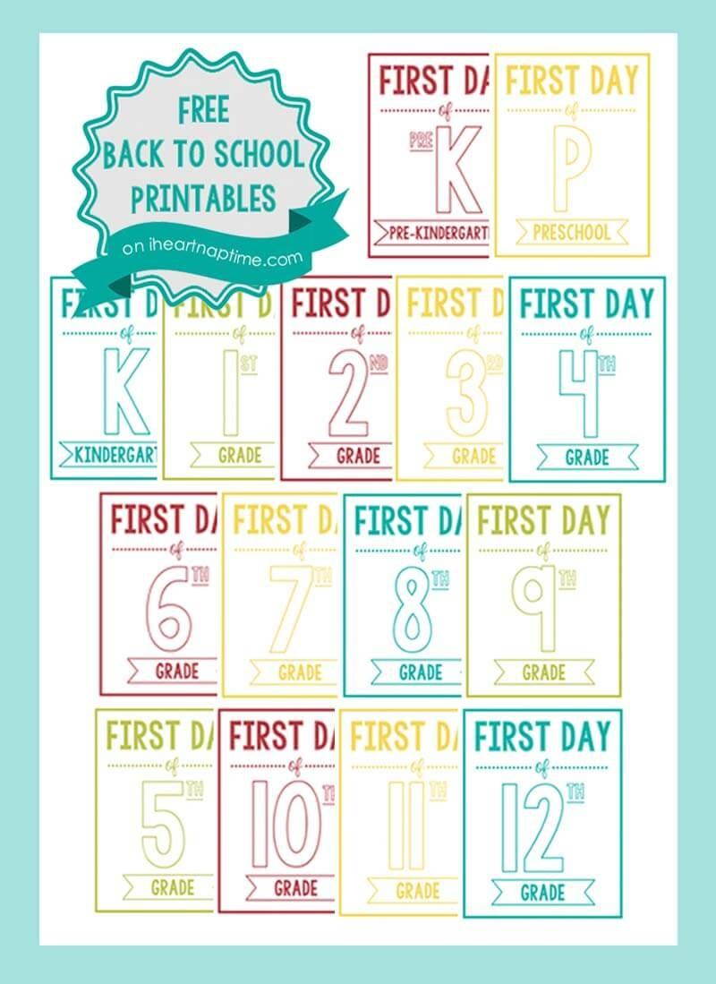 New Back To School Printable Signs - I Heart Nap Time - Free Printable Back To School