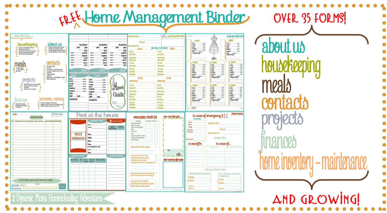 New Bee Homeschooler - Home Management Binder - Free Printable Household Binder