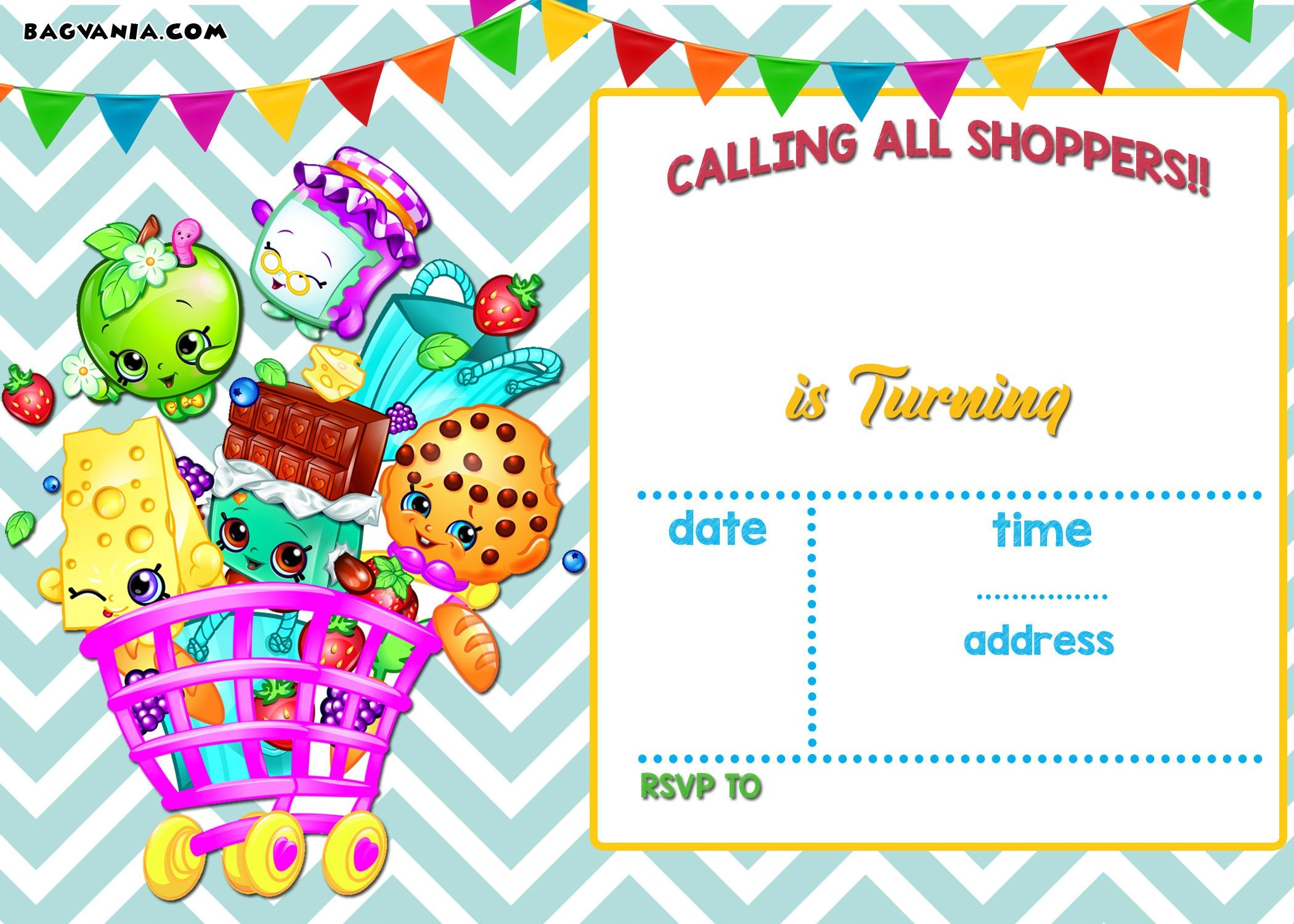 Nice Calling All Shoppers! Here Are Free Blank Shopkins Invitation - Free Printable Shopkins Invitations