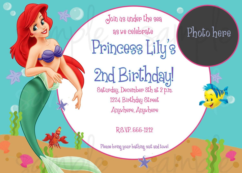 Nice Free Printable Birthday Invitations - Ariel Mermaid | Bagvania - Mermaid Birthday Invitations Free Printable