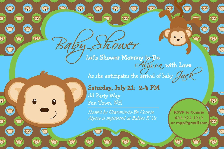 Nice Free Template Baby Shower Monkey Invitations | Bagvania - Free Printable Monkey Girl Baby Shower Invitations