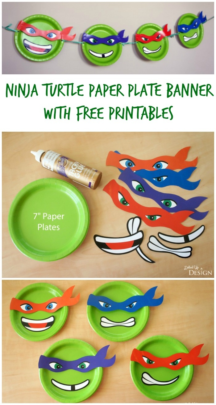 Ninja Turtle Paper Plate Banner With Free Printables - Free Printable Teenage Mutant Ninja Turtle Cupcake Toppers