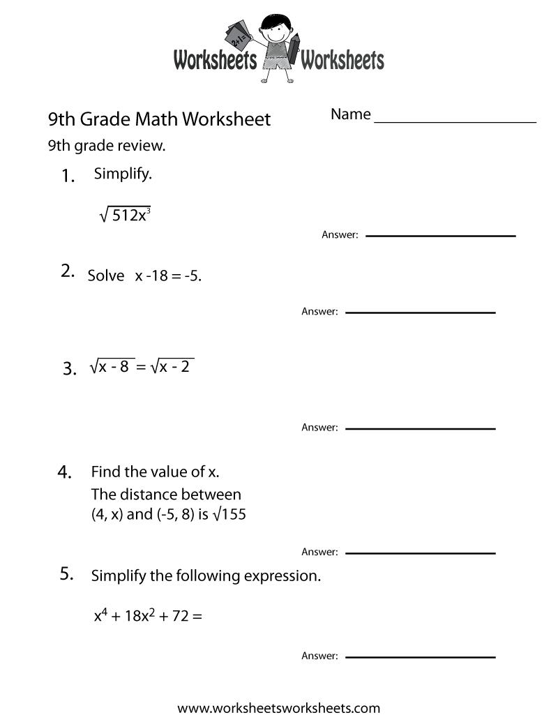 Ninth Grade Math Practice Worksheet Printable   Teaching   Math - Free Printable 7Th Grade Math Worksheets