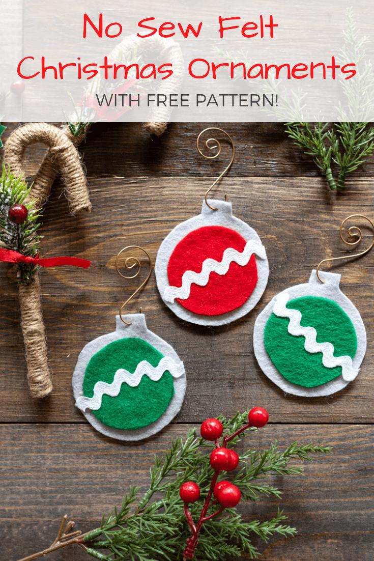 No Sew Easy Felt Christmas Ornaments - The Artisan Life - Free Printable Christmas Ornament Crafts