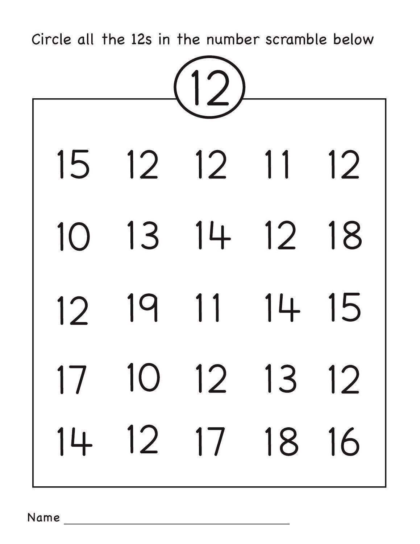 Number 12 Worksheets Easy   Numbers 11-20   Preschool Worksheets - Free Printable Number Worksheets