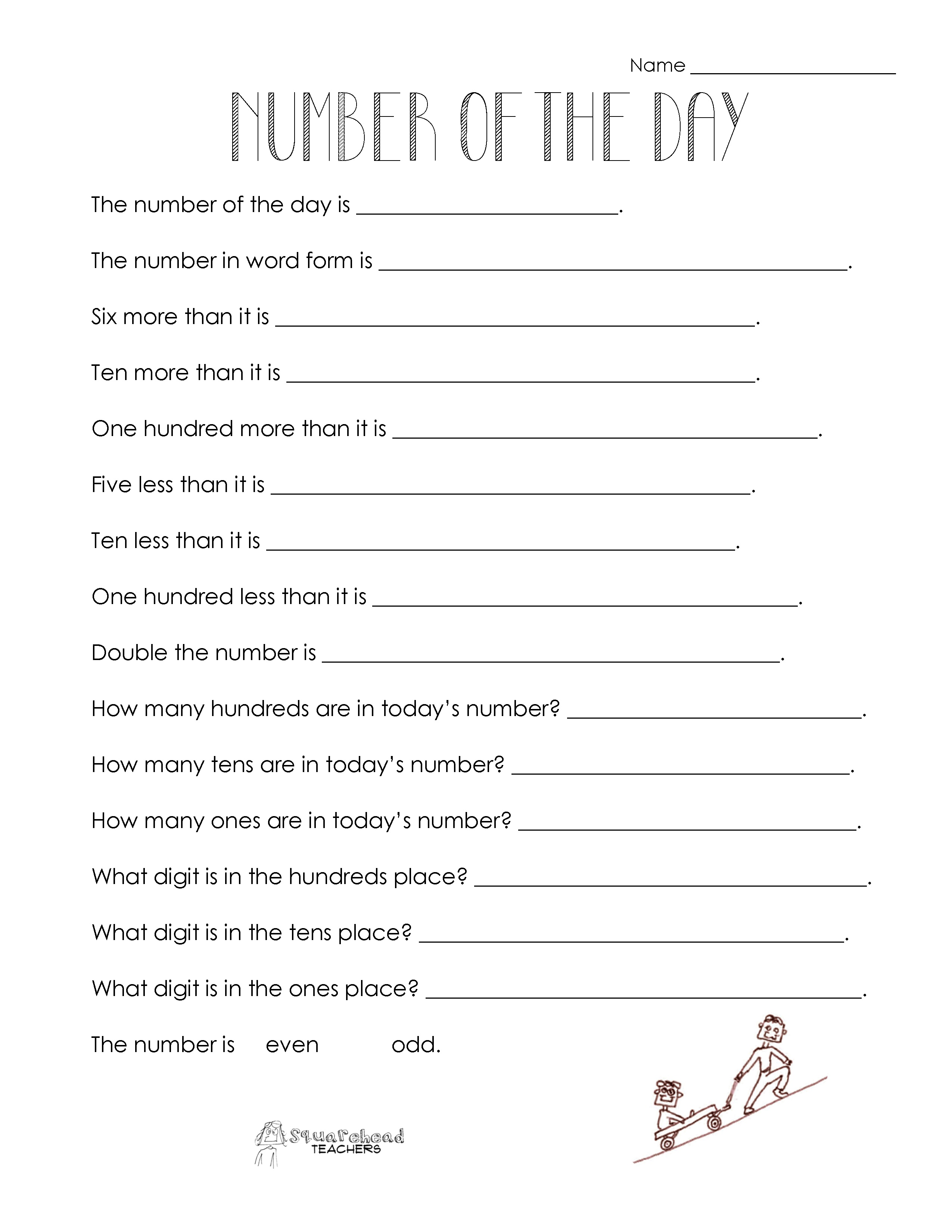 Number Of The Day (Worksheet Collection)   Squarehead Teachers - Free Printable Number Of The Day Worksheets