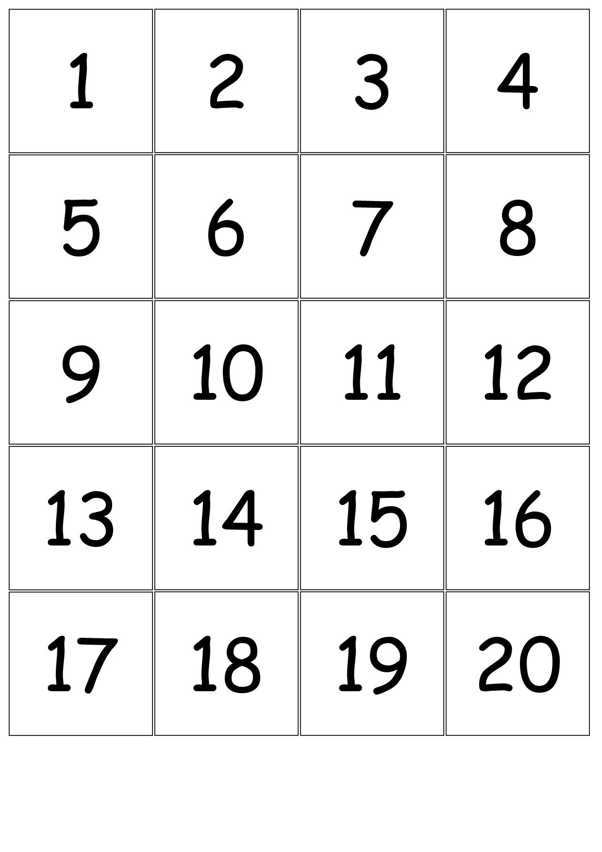 Number+Cards+1-20 | Kindergarten Number Sense | Numbers Kindergarten - Free Printable Number Bingo Cards 1 20