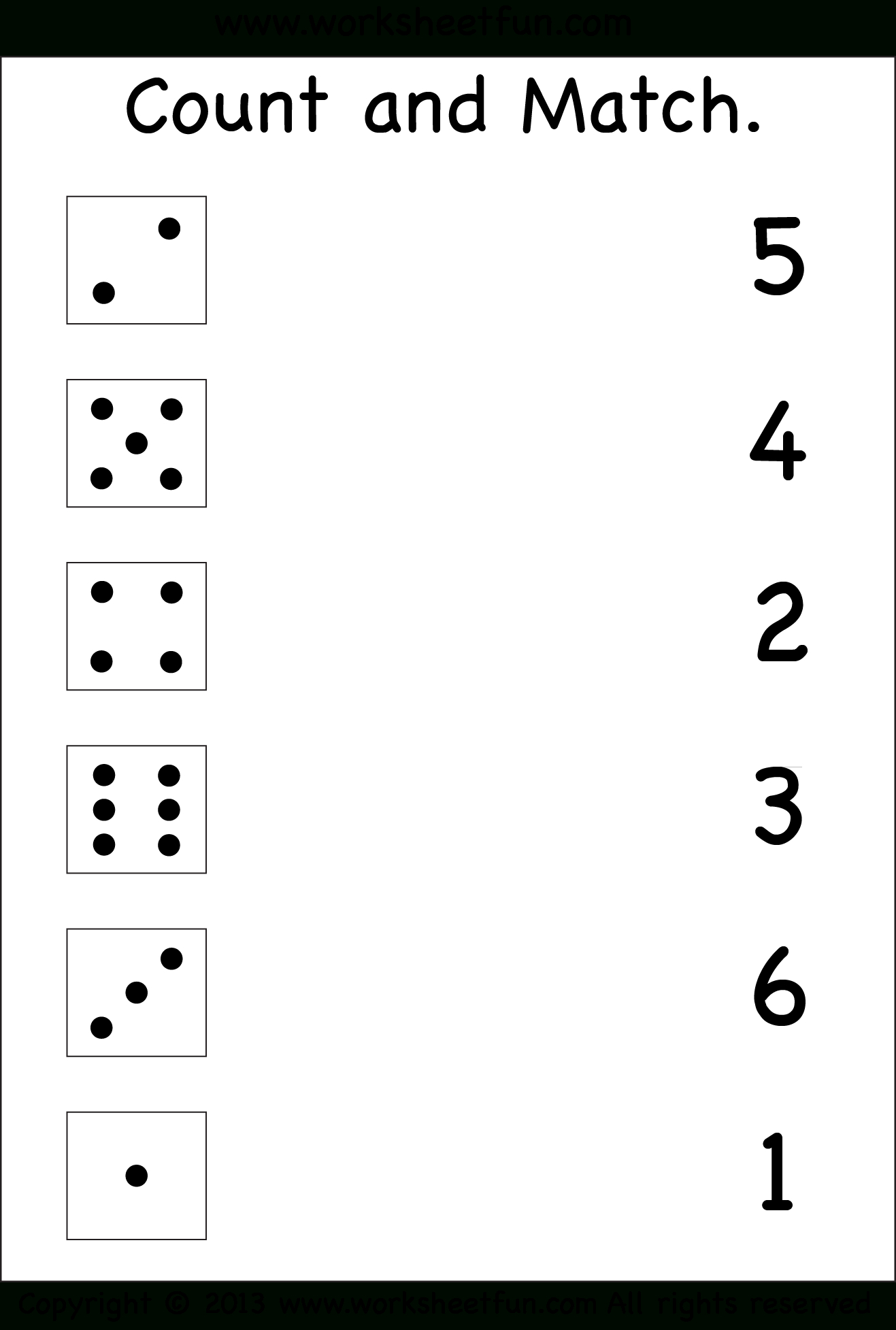 Numbers – Count And Match / Free Printable Worksheets – Worksheetfun - Free Printable Number Worksheets For Kindergarten