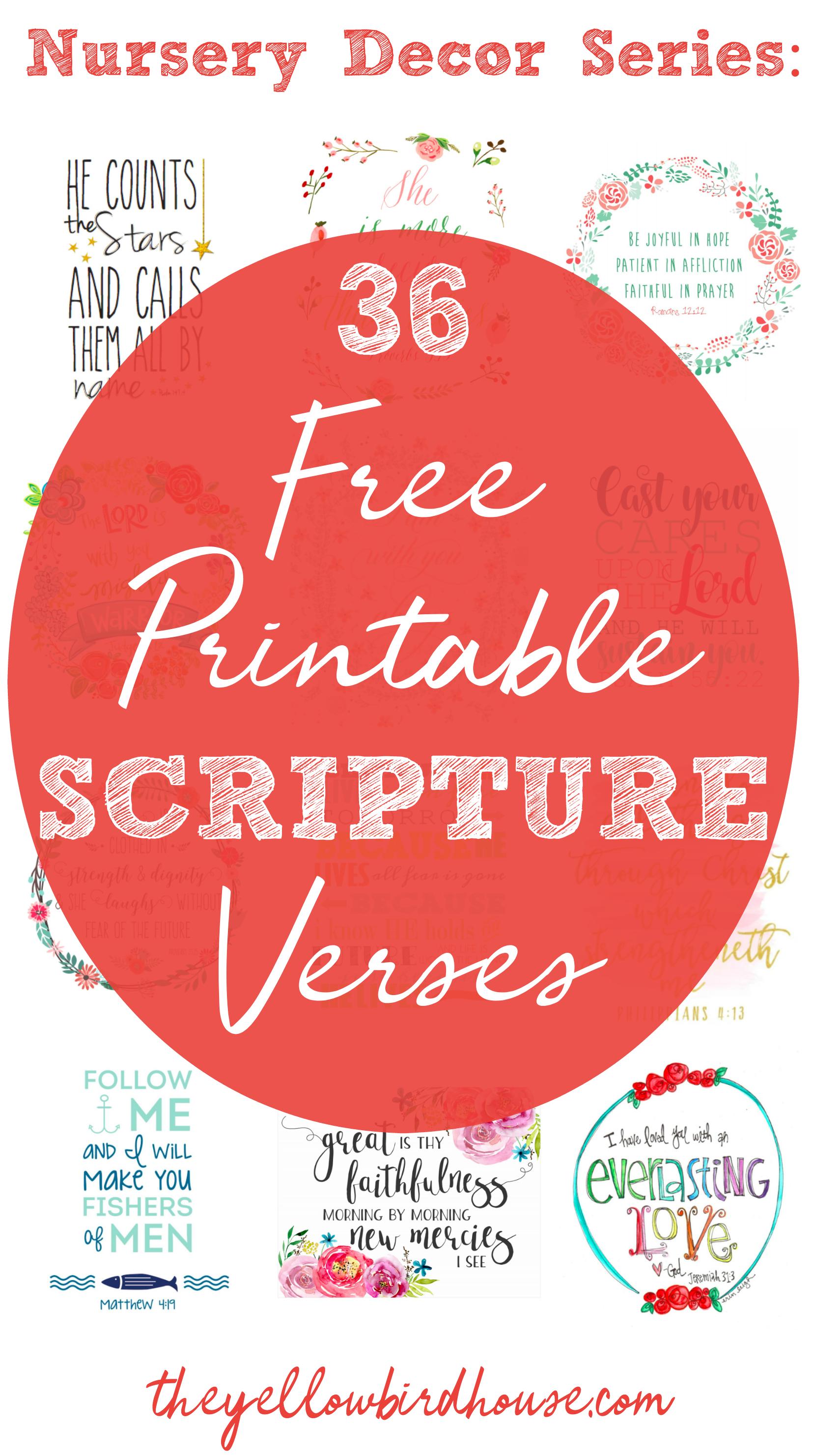 Nursery Decor Series: 36 Free Printable Scripture Verses - Free Printable Scripture Verses