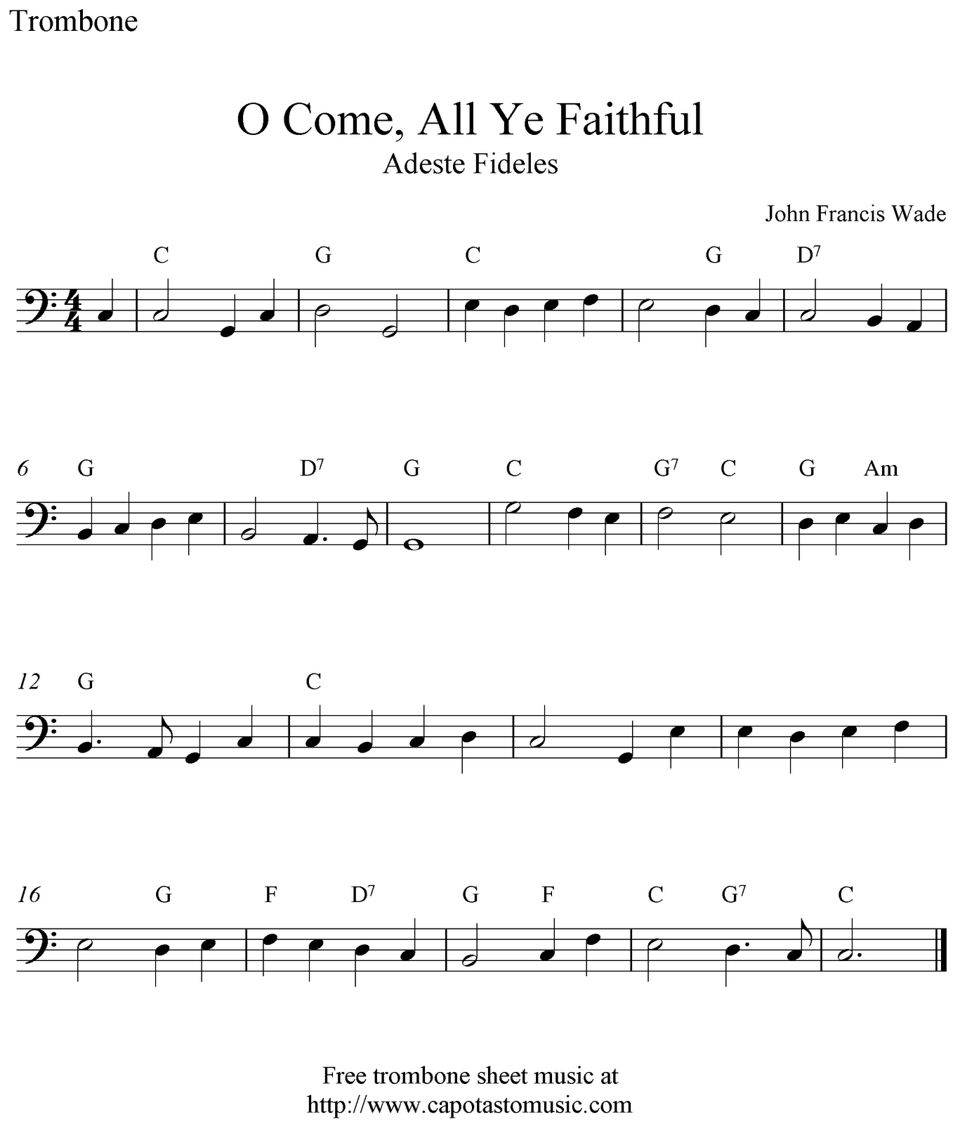 O Come, All Ye Faithful, Simple Music For Trombone. | Music & Things - Trombone Christmas Sheet Music Free Printable