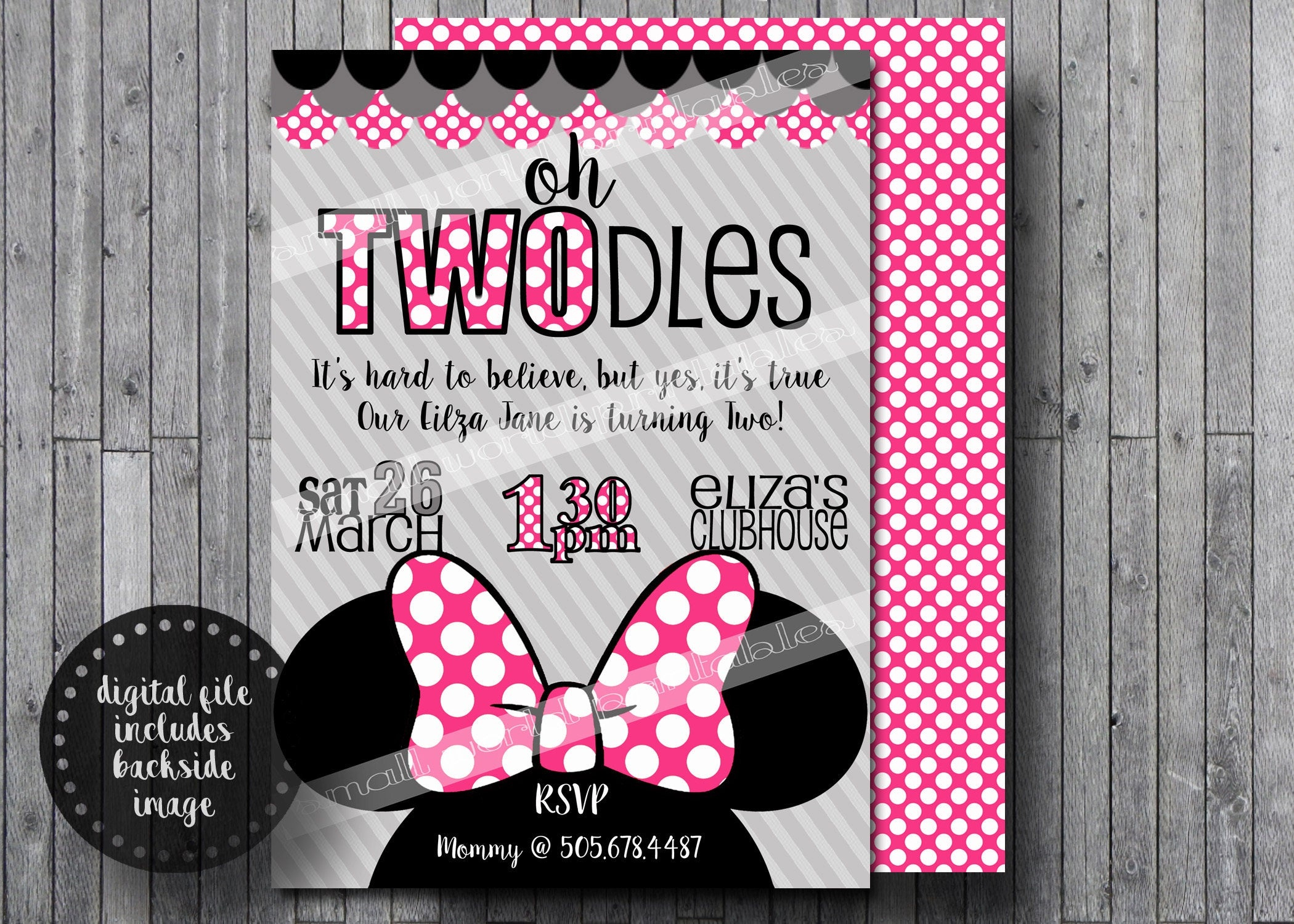 Oh Twodles Invitations Free Thank You Cards Toodles Minnie | Etsy - Free Printable Polka Dot Birthday Party Invitations