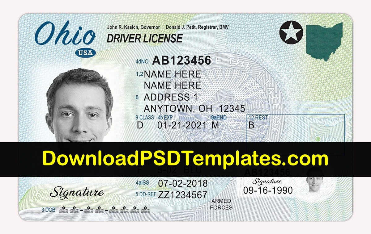 Ohio Driver License Psd   Oh Driving License Editable Template - Free Printable Fake Drivers License