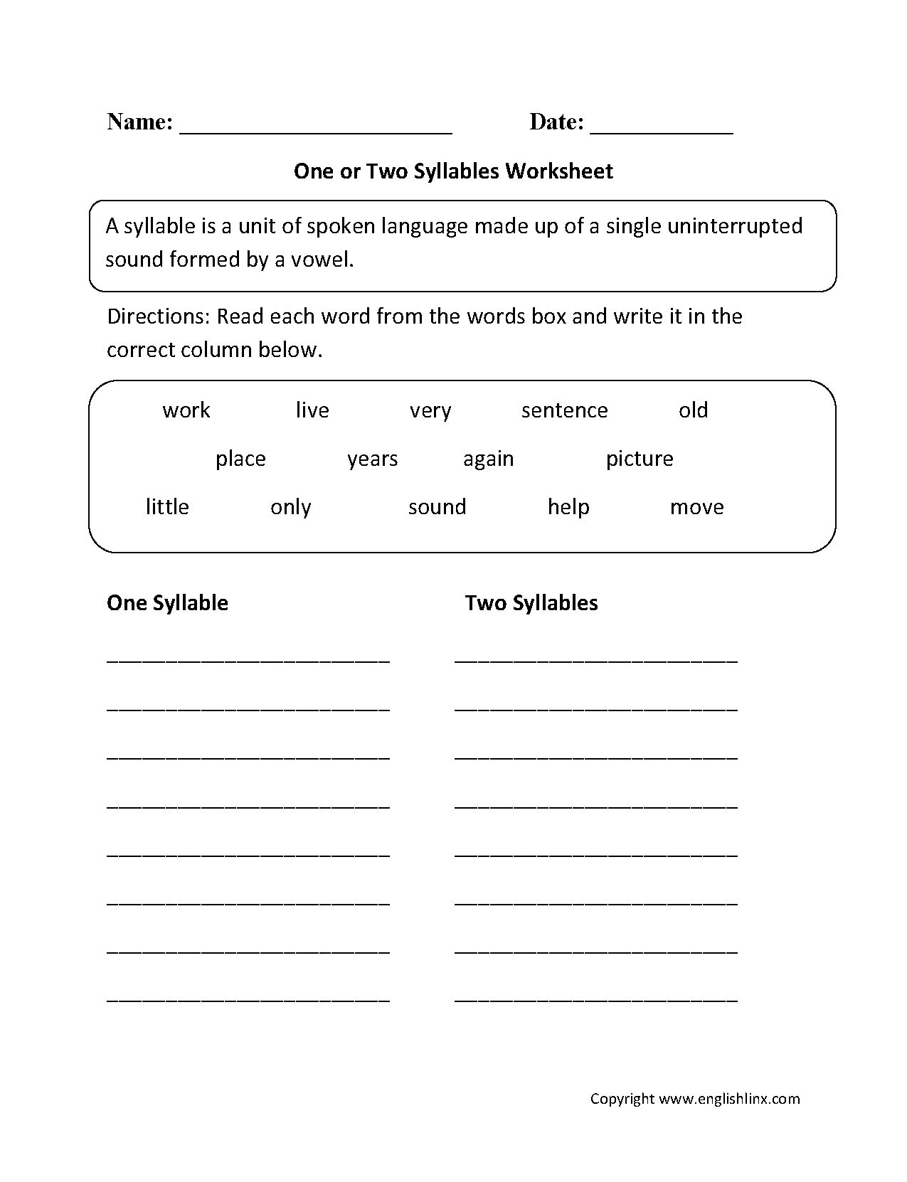 One Or Two Syllables Worksheet | 1 | Syllable, Worksheets, Phonics - Free Printable Open And Closed Syllable Worksheets