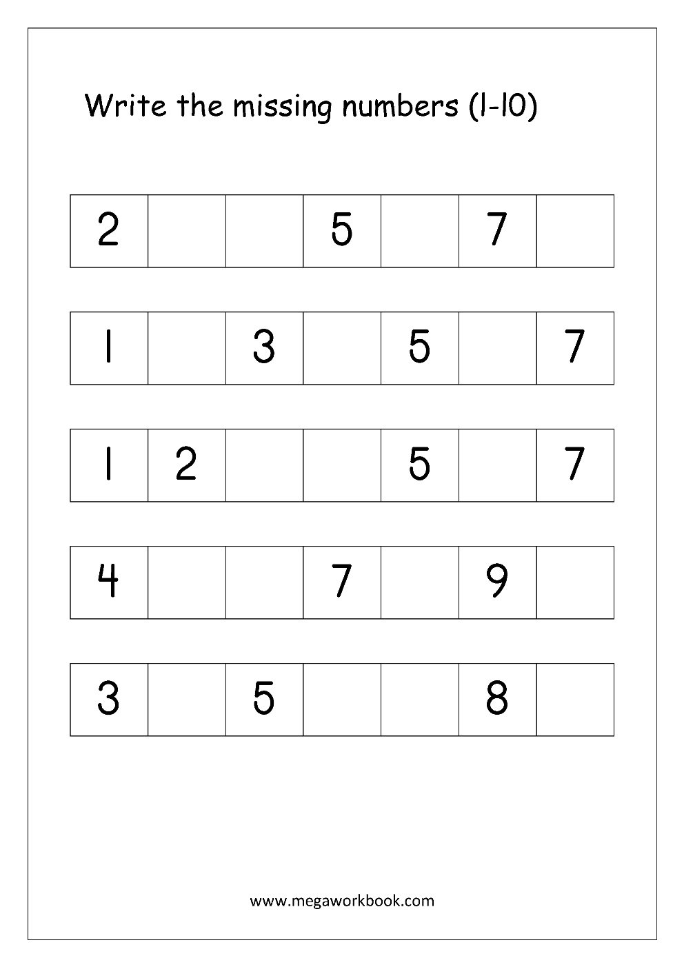 Ordering Numbers Worksheets, Missing Numbers, What Comes Before And - Free Printable Missing Number Worksheets