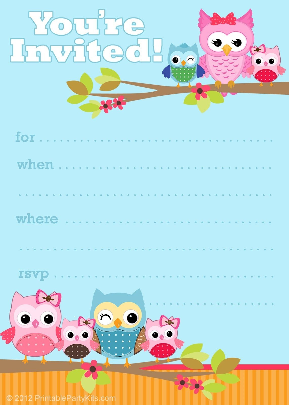 Owl Birthday Cards To Print For Free   Click On The Free Printable - Customized Birthday Cards Free Printable