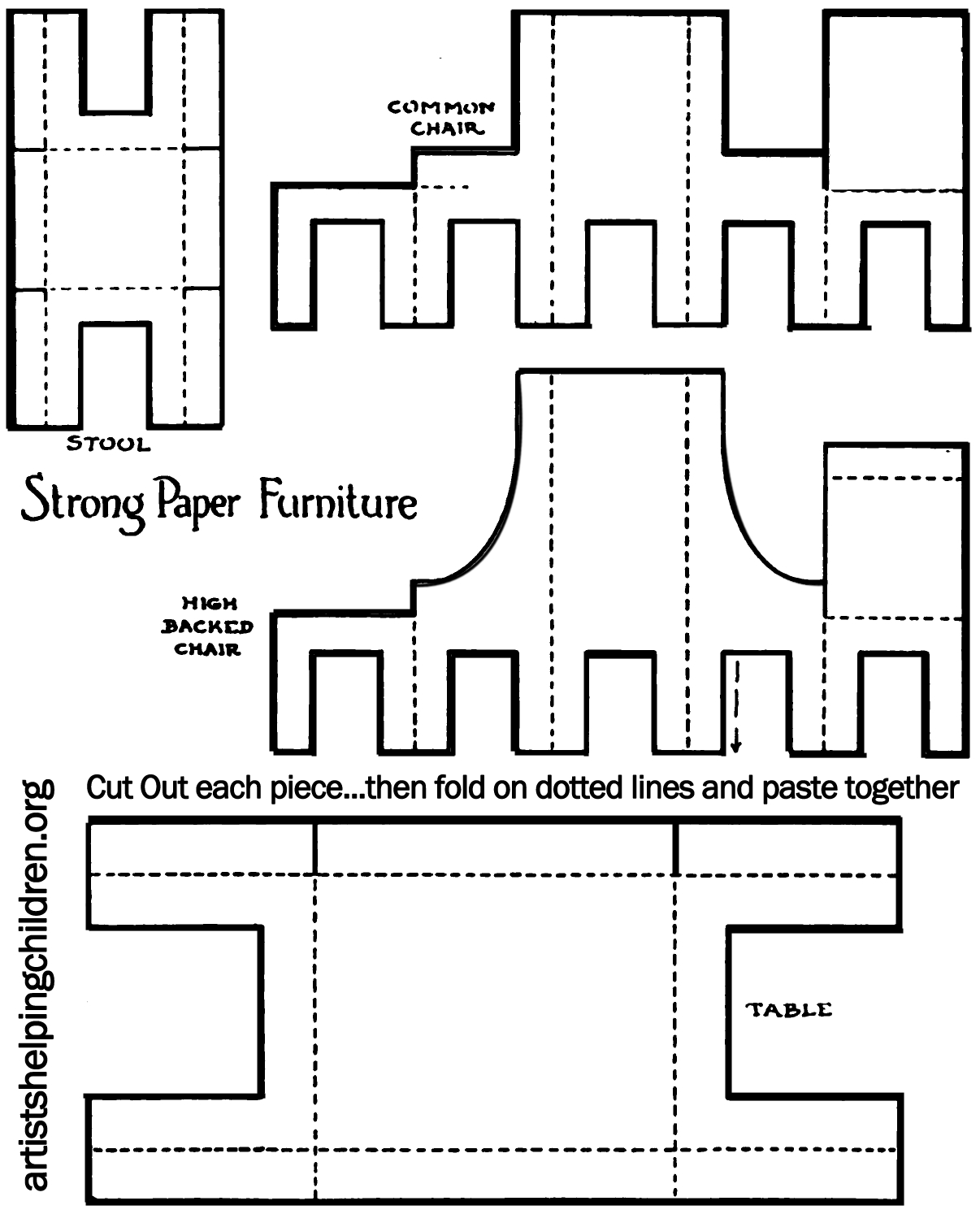Paper Furniture Template - Kaza.psstech.co - Free Printable Dollhouse Furniture Patterns
