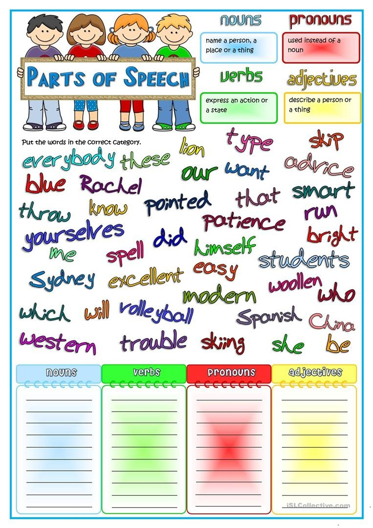 Parts Of Speech - Nouns, Pronouns, Verbs, Adjectives Worksheet - Free Printable Parts Of Speech Worksheets
