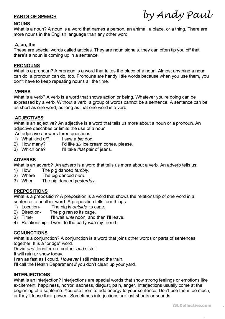 Parts Of Speech Worksheet - Free Esl Printable Worksheets Made - Free Printable Parts Of Speech Worksheets