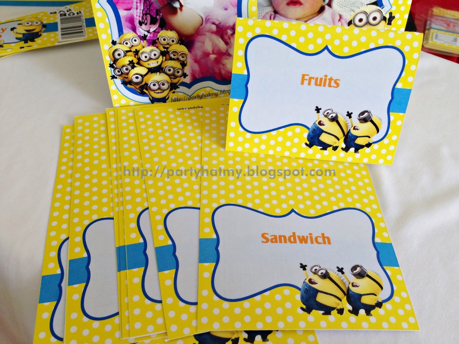 Party Hat: Minions Party For Baby Faz - Free Printable Minion Food Labels