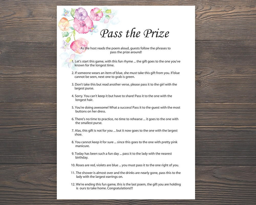 Pass The Prize Baby Shower Games Girl Baby Shower Rhyme | Etsy - Pass The Prize Baby Shower Game Free Printable