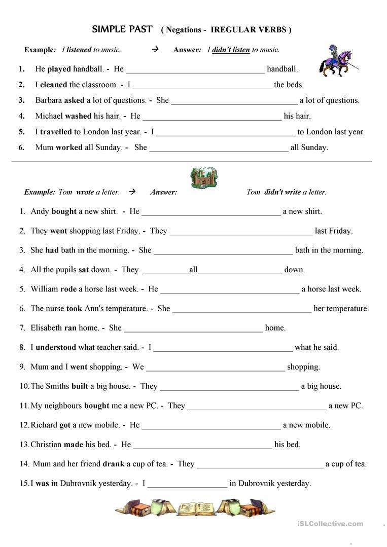 Past Simple - Negative Form; Irregular Verbs Worksheet - Free Esl - Free Printable Past Tense Verbs Worksheets