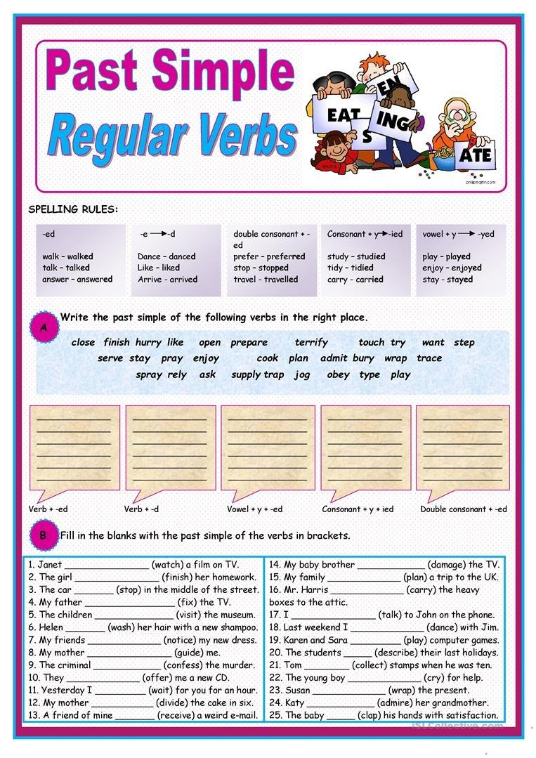 Past Simple Of Regular Verbs Worksheet - Free Esl Printable - Free Printable Past Tense Verbs Worksheets