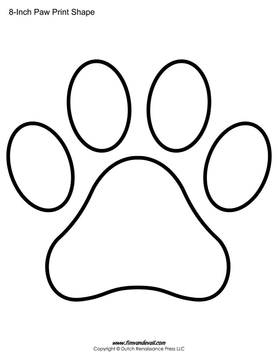 Paw Print Template Shape-Lots Of Different Sizes   Teacher Resources - Free Printable Shapes Templates