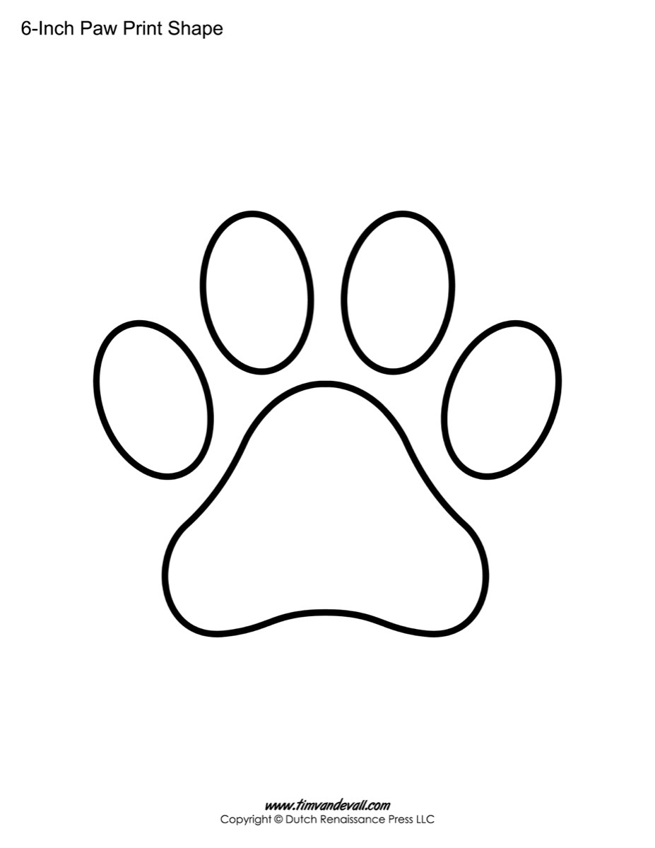 Paw Print Template Shapes   Blank Printable Shapes - Free Printable Shapes Templates