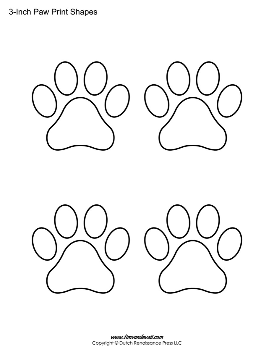 Paw Print Template Shapes   Blank Printable Shapes - Free Shape Templates Printable