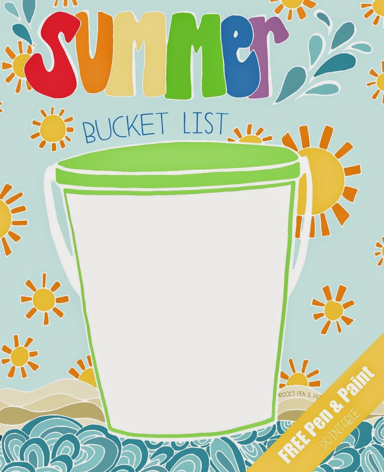 Pen & Paint: Free Printable & Coloring Page - Summer Bucket List - Free Printable Summer Pictures