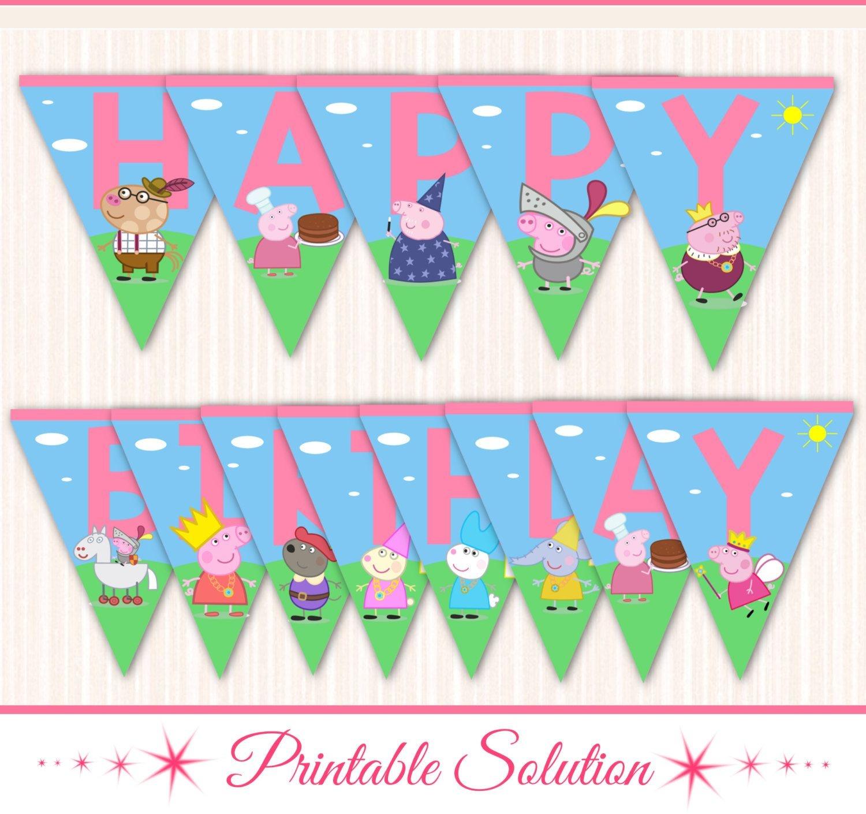 Peppa Pig Banner Peppa Pig Birthday Banner Por Printablesolution - Peppa Pig Birthday Banner Printable Free