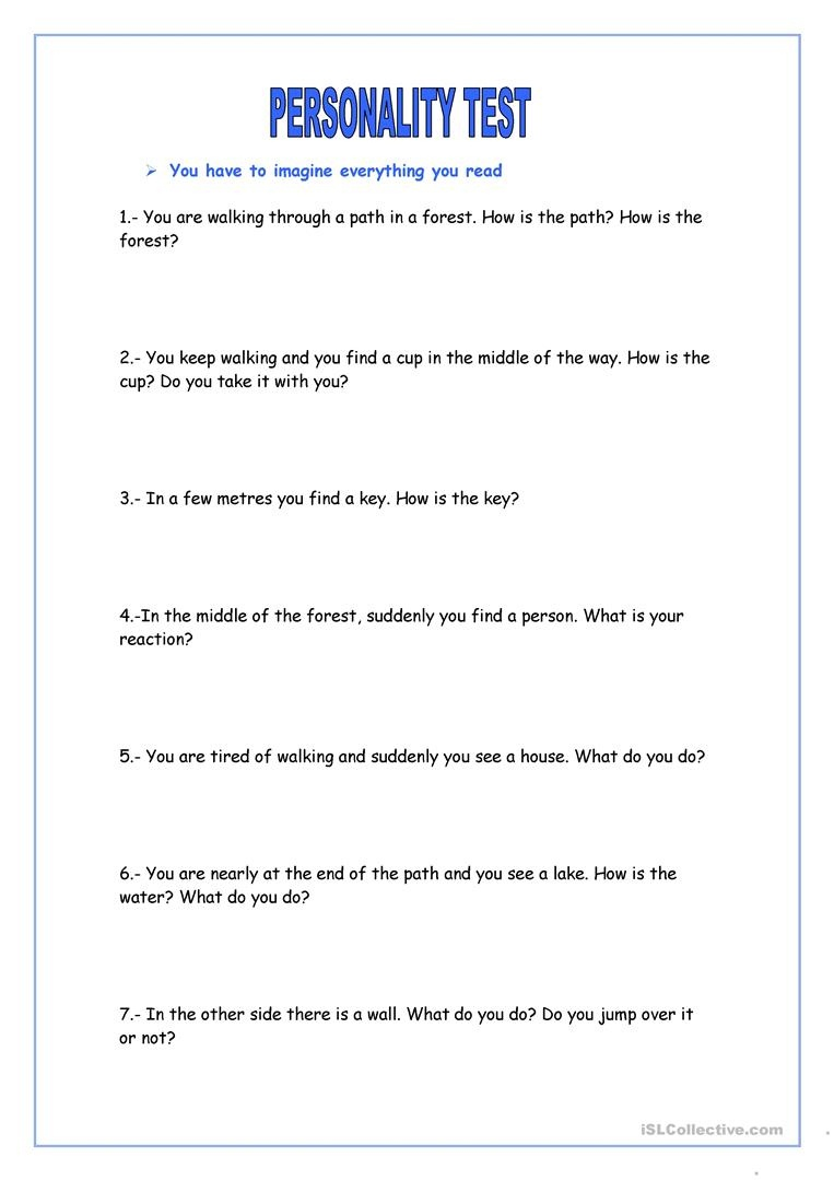 Personality Test Worksheet - Free Esl Printable Worksheets Made - Free Printable Personality Test