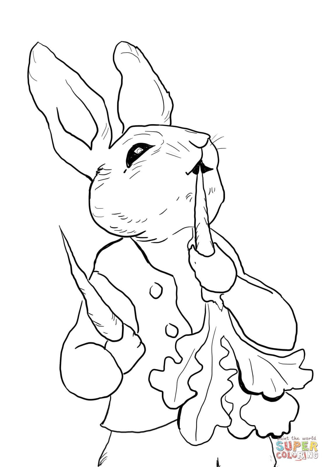 Peter Rabbit Eating Radishes Coloring Page From Peter Rabbit - Free Printable Peter Rabbit Coloring Pages