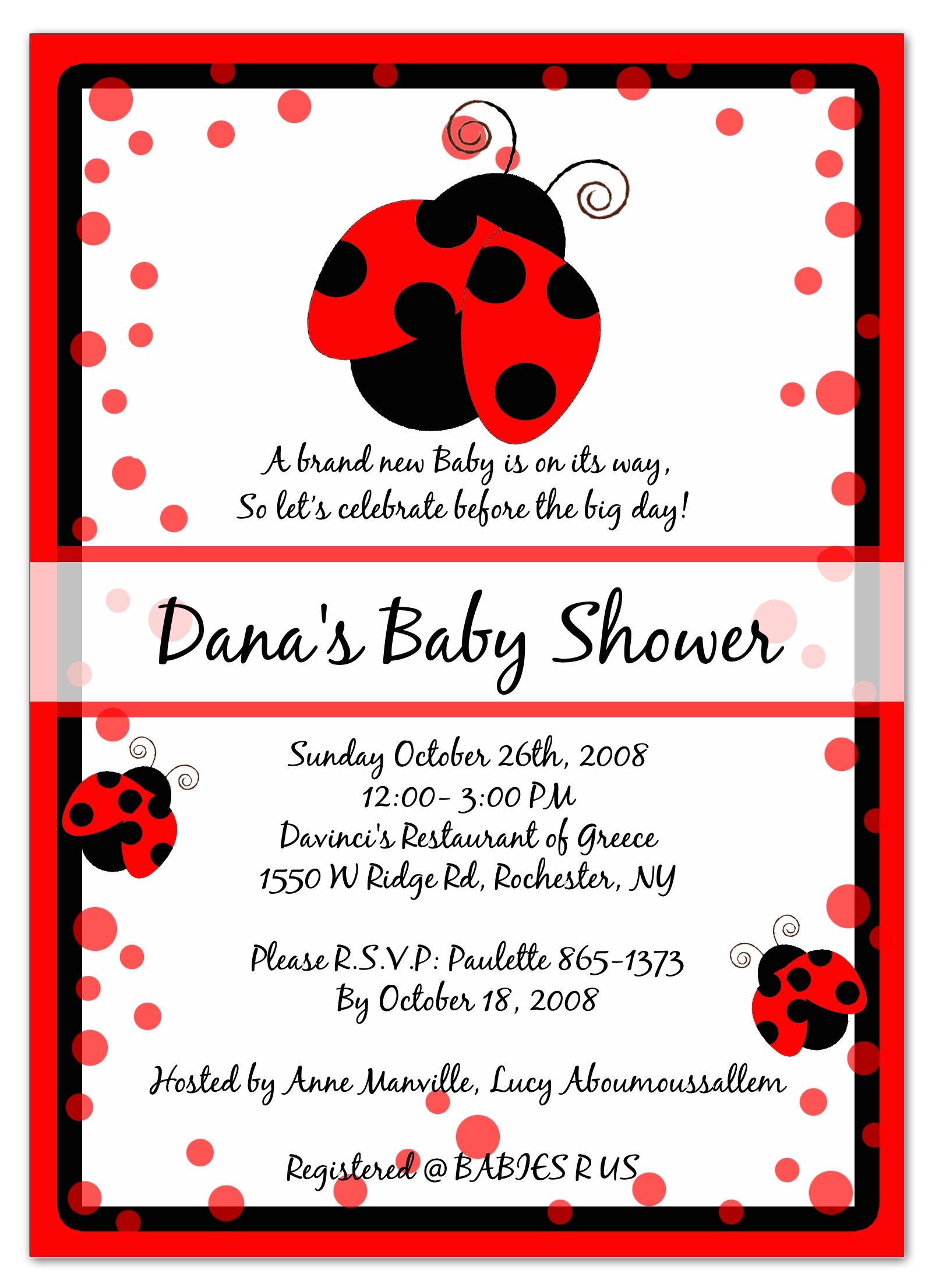 Photo : 12 Baby Shower Ladybug Image - Free Printable Ladybug Baby Shower Invitations Templates