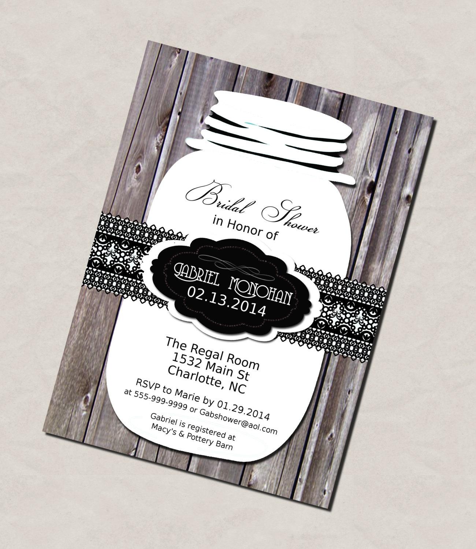 Photo : Do It Yourself Printable Bridal Image - Free Mason Jar Wedding Invitation Printable Templates