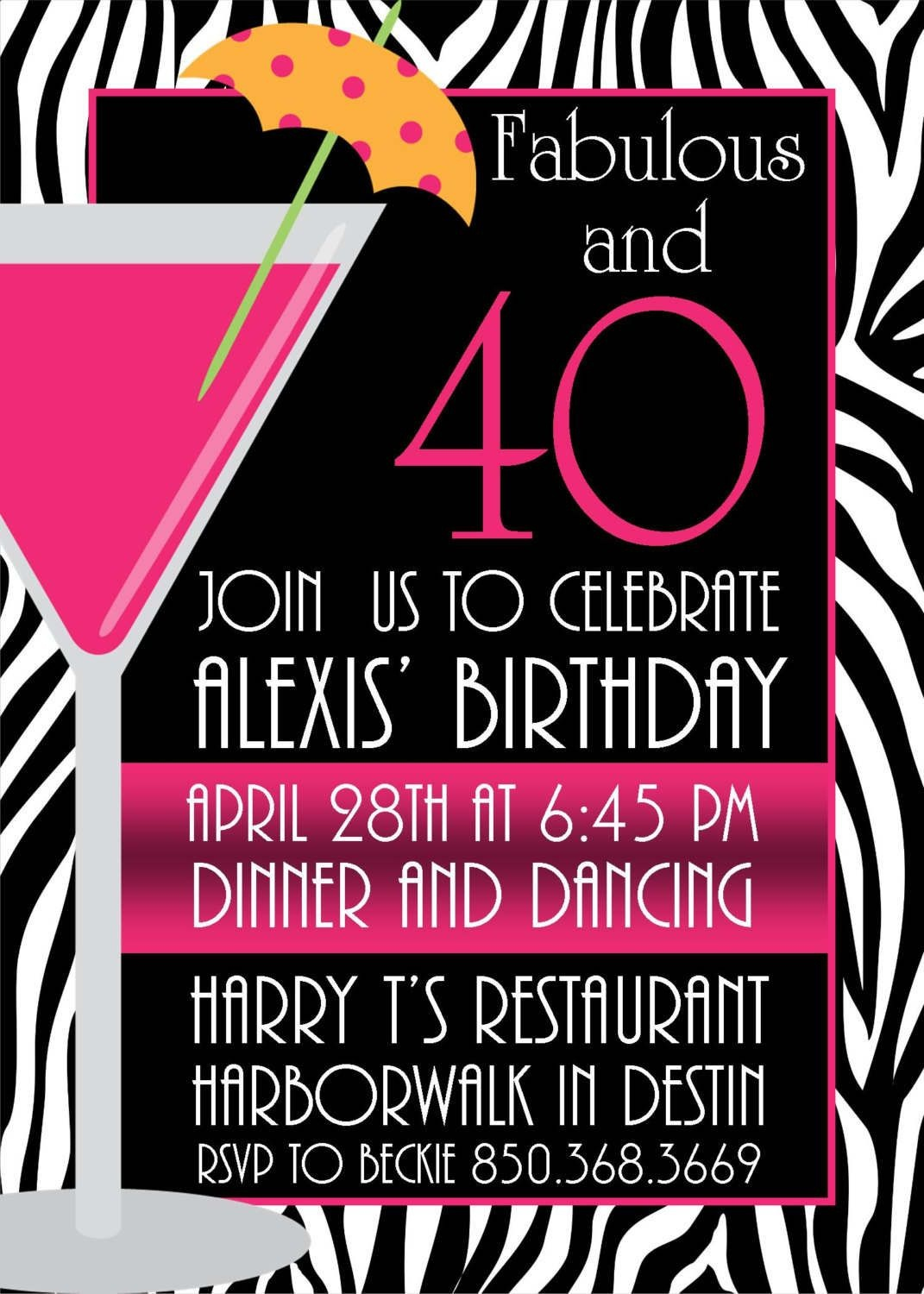 Pictures Of Stylish Women For 40Th Birthday Invitation | Free - Free Printable Surprise 40Th Birthday Party Invitations