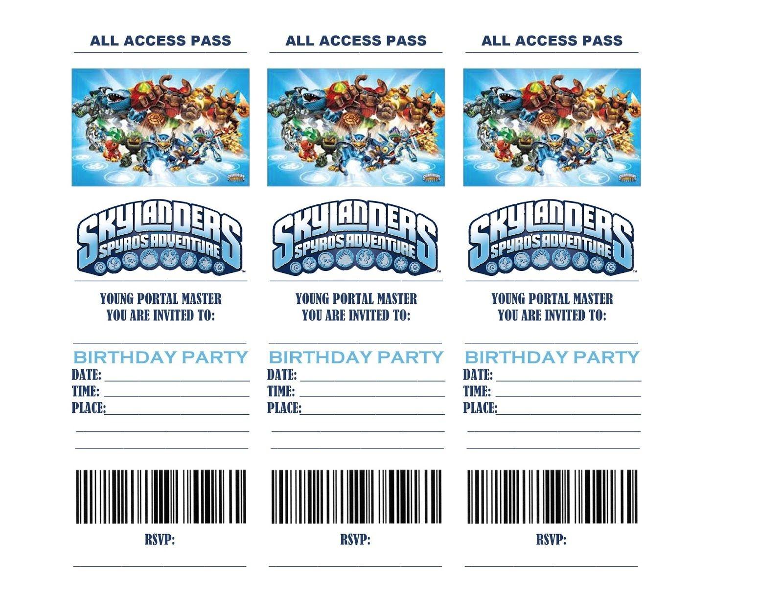 Pincrafty Annabelle On Skylanders Printables | Birthday Party - Free Printable Skylander Invitations