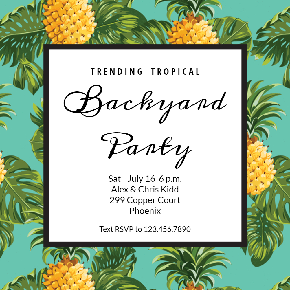 Pineapple Print - Printable Party Invitation Template (Free - Free Printable Pineapple Invitations