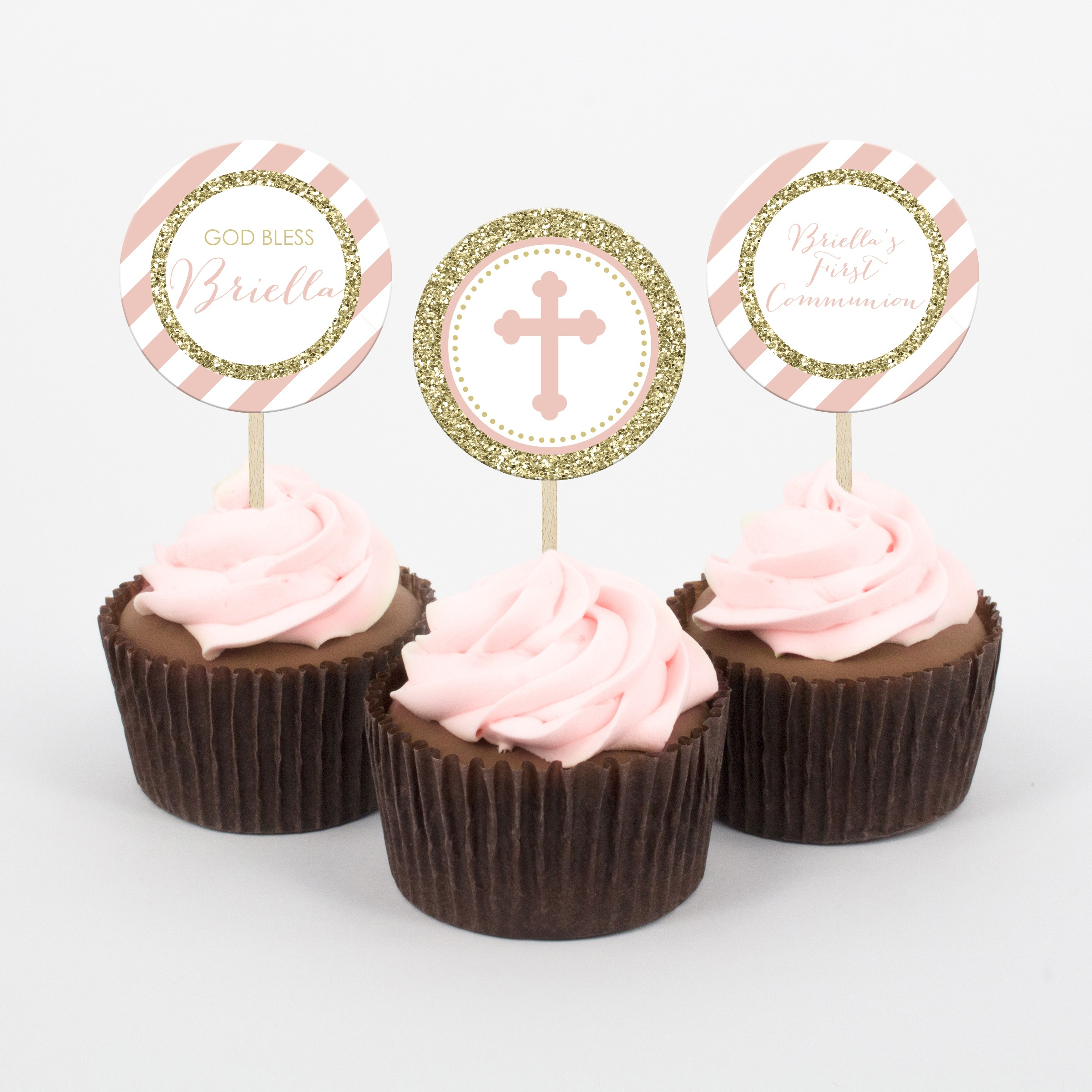 Pink And Gold First Communion Cupcake Topper - Printable Studio - Free Printable First Communion Cupcake Toppers