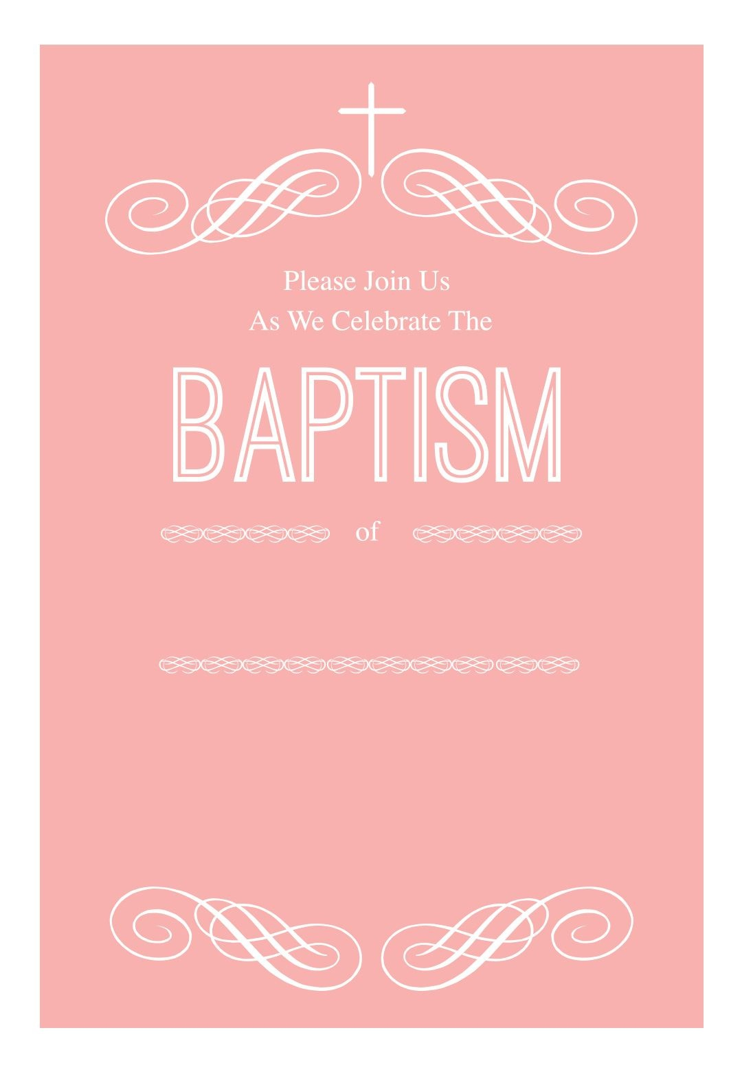 Pink Decorations - Free Printable Baptism & Christening Invitation - Free Printable Baptism Invitations