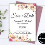 Pink Floral Save The Date Wedding Template Pink Floral Save The Date   Free Printable Save The Date Invitation Templates