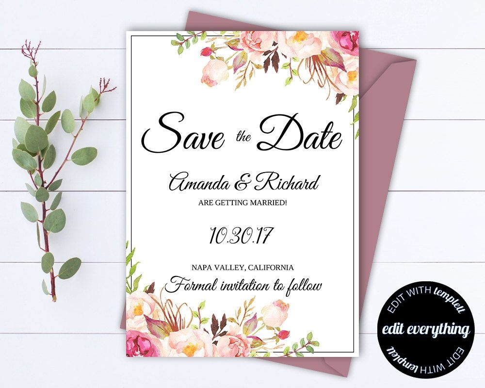 Pink Floral Save The Date Wedding Template Pink Floral Save The Date - Free Printable Save The Date Invitation Templates