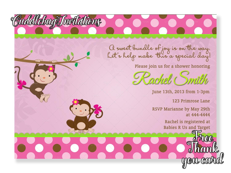 Pink Monkey Girl Baby Shower Invitation Pink Baby Girl | Etsy - Free Printable Monkey Girl Baby Shower Invitations