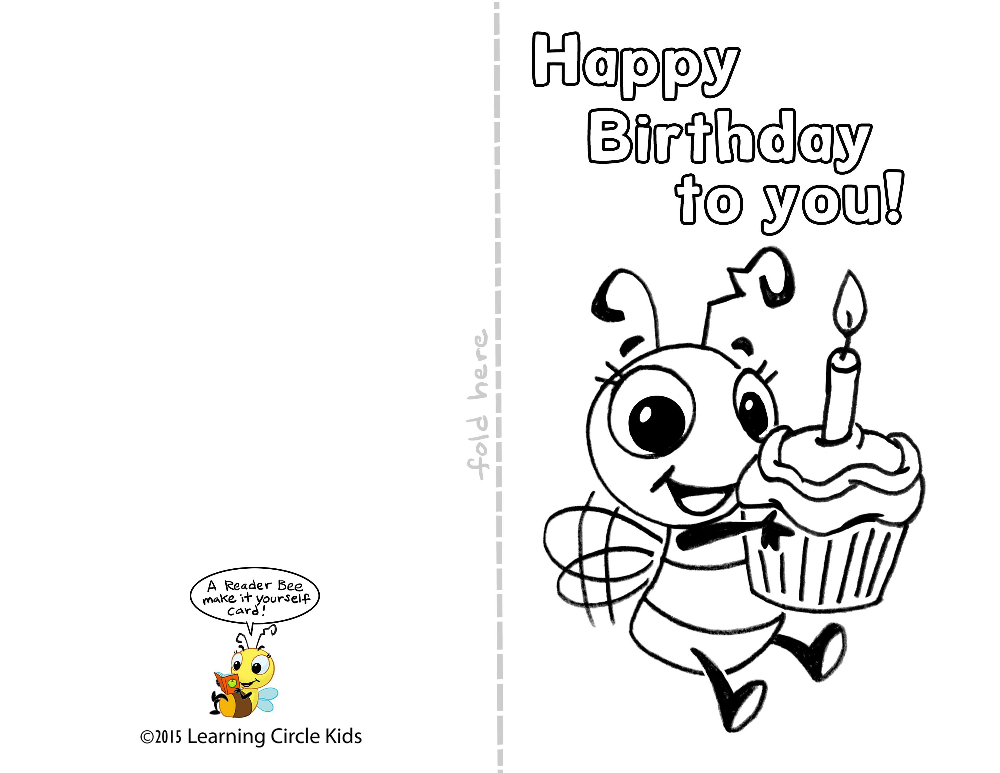 Pinreader Bee On Birthday Celebration - Bee Style | Free - Free Printable Birthday Cards To Color