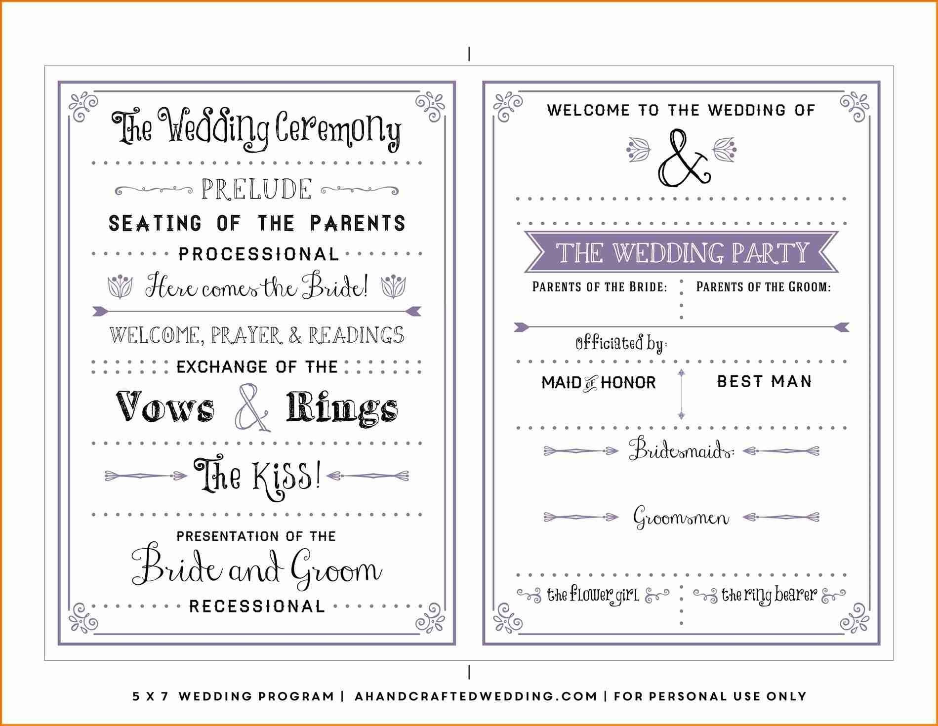 Pinterest - España - Free Printable Wedding Program Templates Word